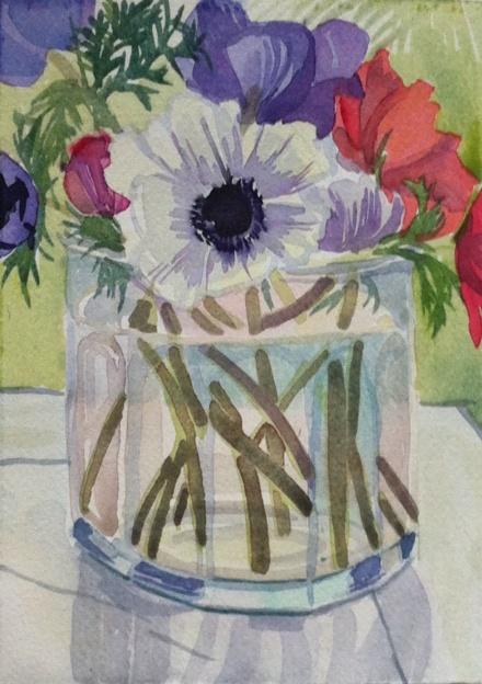 Jar of anemones in the window