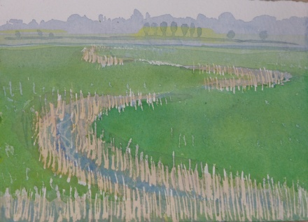 Meandering reed bed.
